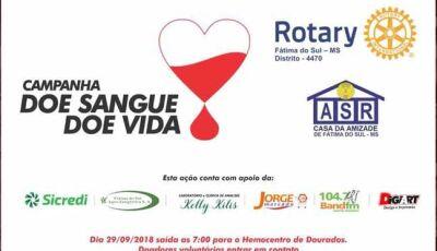 Rotary Club de Fátima do Sul lança campanha de Doação de Sangue