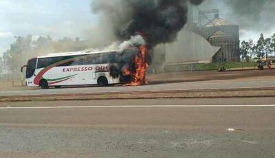 Ônibus que saiu de Dourados com destino a Capital pegou fogo na BR-163