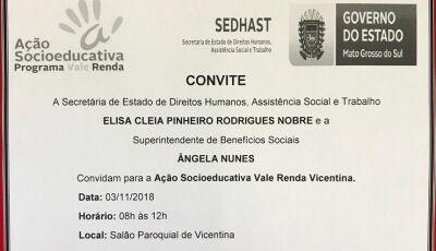 VICENTINA: Governo do MS convida beneficiários para ação socioeducativa do vale renda neste sábado