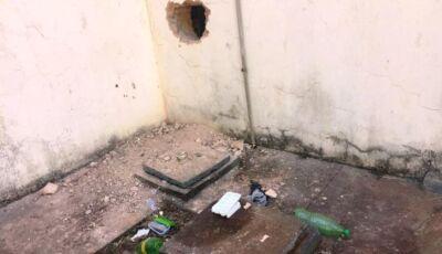 Ladrões quebram parede de agência bancária, mas fogem sem levar nada