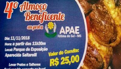 APAE realiza o 4º Almoço Beneficente e Leilão em prol aos 100 alunos neste domingo em Fátima do Sul