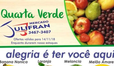 """Confira as promoções da """"Quarta Verde"""", Mercado Julifran não abrirá nesta quinta em Fátima do Sul"""