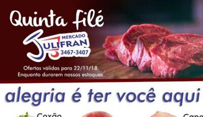 Veja as promoções da Quinta Filé, compre preencha o cupom e concorra a um barco no Mercado Julifran