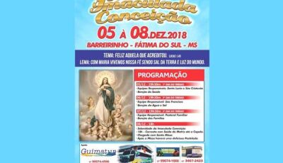 Festa da Imaculada Conceição será neste final de Semana em Fátima do Sul