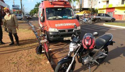 Crianças de bicicleta são atingidas por moto em Nova Andradina