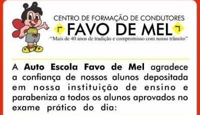 Auto Escola Favo de Mel divulga aprovados para obter CNH em Fátima do Sul