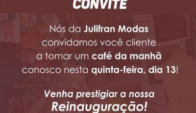 Julifran Modas reinaugura nesta quinta-feira com café da manhã e brindes em Fátima do Sul