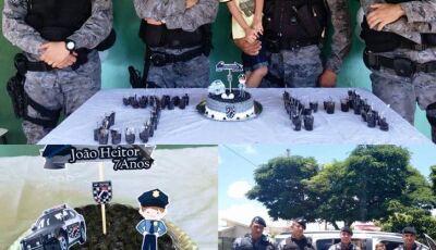 Criança de sete anos escolhe 'FORÇA TÁTICA' como tema de aniversário em Deodapolis