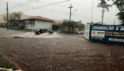 Forte chuva causa alagamentos em vários pontos de Nova Andradina