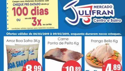 Fevereiro com muitas promoções e materiais escolares é no Mercado Julifran em Fátima do Sul