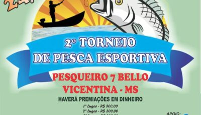 Neste domingo tem Torneio de Pesca e almoço no Pesqueiro 7 Bello em VICENTINA