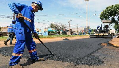Restauração da Marcelino Pires já alcança 68% de obra concluída em Dourados