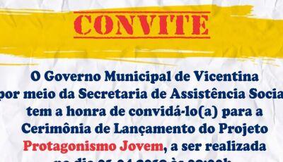 Vicentina lança projeto 'Protagonismo Jovem' nesta segunda-feira 01 de abril