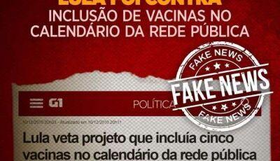 Lula não vetou vacina contra meningite, Fake News se espalhou após morte de neto Arthur