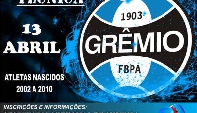 Grêmio vai fazer avaliação técnica com atletas nascidos entre 2002 a 2010 em Vicentina