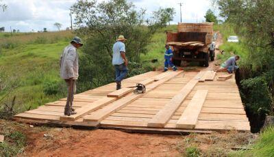 Jateí: Patrolamento, aterramento e reconstrução da ponte de madeira sobre o Córrego Donato
