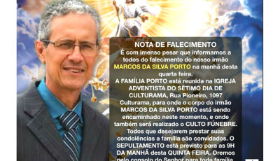 Igreja Adventista do 7º Dia solidariza-se com a familia de Marcos Porto de Culturama