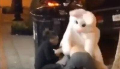 """""""Coelho da Páscoa"""" soca homem que agredia mulher na rua; veja o vídeo"""