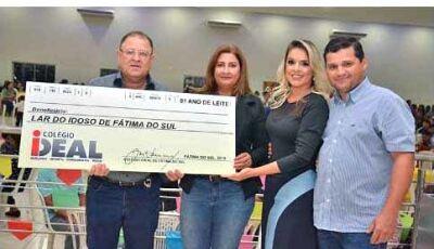 Lar do Idoso recebe doação de 1 ano de leite da Escola Ideal de Fátima do Sul