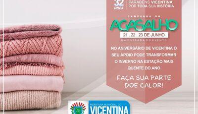 VICENTINA: Prefeitura lança campanha para arrecadar agasalhos durante os 3 dias de festa dos 32 anos