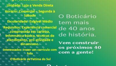 O Boticário está contratando em Fátima do Sul