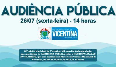 Prefeito convida para Audiência Pública sobre municipalização do trânsito nesta sexta em Vicentina