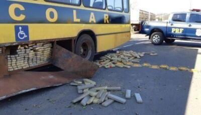 Falso ônibus escolar de Naviraí transportava uma tonelada de maconha