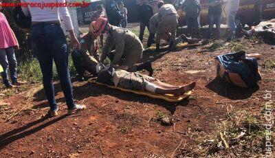 Colisão entre motocicleta e ônibus deixa 2 feridos em Maracajú