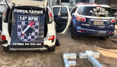 Força Tática de FÁTIMA DO SUL apreende cocaína e pasta base durante operação Fronteira Segura II