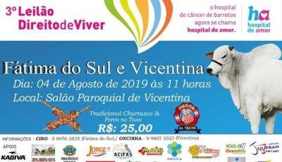3º Leilão Direito de Viver em prol ao Hospital do Câncer de Barretos será neste domingo em Vicentina