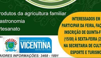 Em Vicentina, Prefeitura abre as inscrições para a Feira Livre, Veja como participar