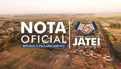 Prefeitura divulga Nota de Repúdio sobre indicação de nome para receber Título Cidadão Jateiense