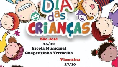 Vicentina terá festa das crianças, confira programação nos distritos e domingo ginásio de esportes