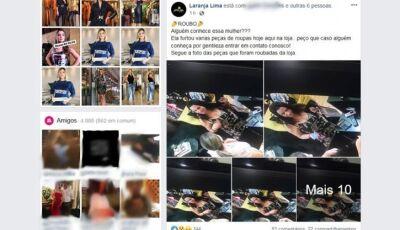 Loja divulga imagens de mulher que furtou mais de R$ 2 mil reais em roupa em Deodápolis