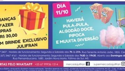 Confira as ofertas do DIA DAS CRIANÇAS que vão até sábado no Mercado Julifran em Fátima do Sul