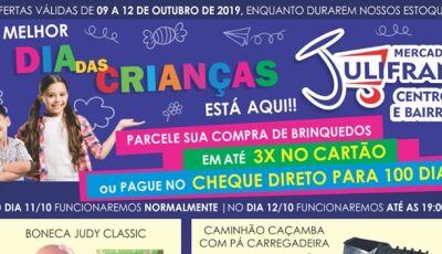 Mercado Julifran abre neste sábado com muitas ofertas para o DIA DAS CRIANÇAS em Fátima do Sul