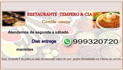 Marmitex a R$ 10,00 é no Restaurante Tempero & Cia em Fátima do Sul