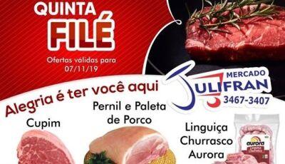 Compre e concorra a muitos prêmios, hoje tem QUINTA FILÉ no Mercado Julifran em Fátima do Sul