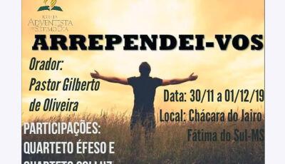 Adventistas realizarão retiro espiritual final de semana em Fátima do Sul