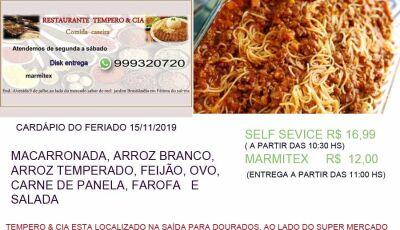 Neste feriado aprecie uma comida caseira no Restaurante Tempero & Cia em Fátima do Sul