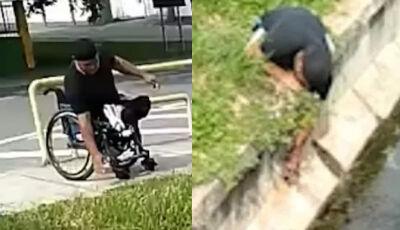 Homem salta da cadeira de rodas pra salvar gato preso em córrego - Vídeo