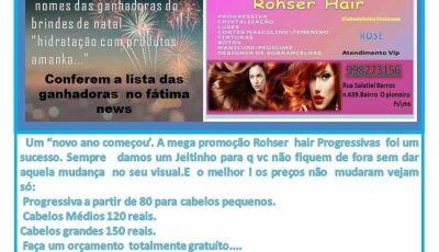 Rohser Hair Cabeleireira divulga nome das ganhadoras da promoção de Dezembro em Fátima do Sul