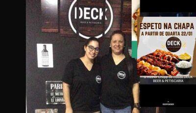 Nesta quarta feira no Deck Beer & Petiscaria tem Espetinho na chapa em Fátima do Sul