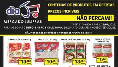 Hoje tem Dia 'J', com tudo abaixo do preço no Mercado Julifran em Fátima do Sul