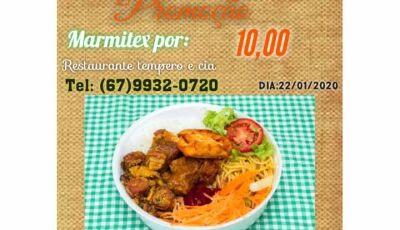 Disk Marmitex a R$ 10,00, nesta quarta feira é no Restaurante Tempero & Cia em Fátima do Sul