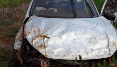 Saveiro é encontrado todo destruído, veículo foi roubado em Glória de Dourados
