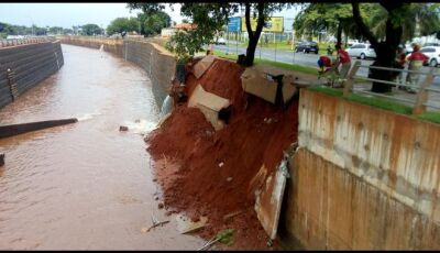 Obra de contenção de enchente não resistiu à chuva forte em MS