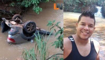 Motorista morre após carro sair da pista e ficar submerso em rio