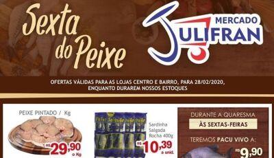 Hoje tem SEXTA DO PEIXE com Pacu Vivo a R$ 9,90 no Mercado Julifran em Fátima do Sul