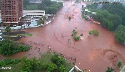Temporal em Campo Grande: carros arrastados, rotatória debaixo d'água e asfalto destruído
